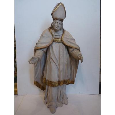 Un évêque, Sculpture Bois Laqué & Doré, 18ème Siècle