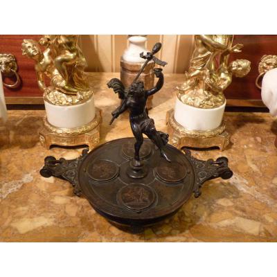 Grand Inkwell Bronze Patina, Antique Style, Second Half 19th Century