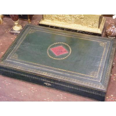 Large Leather Box, Decor With Small Irons To Gild, Empire Restoration Period