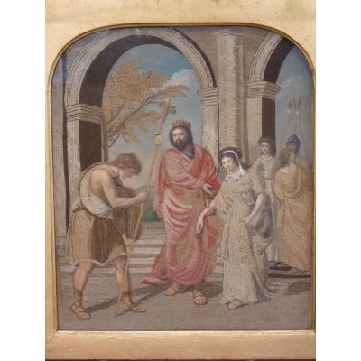 Scène Antique, Gouache Brodée, Fin 18e Siècle