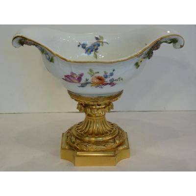 Coupe en Porcelaine de Meissen et Bronze Doré, 18e - 19e Siècles