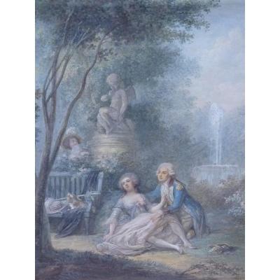 Scène Galante, Gouache Epoque Louis XVI