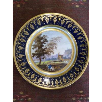 Bucolic Landscape Plate, Paris Porcelain, Empire Period