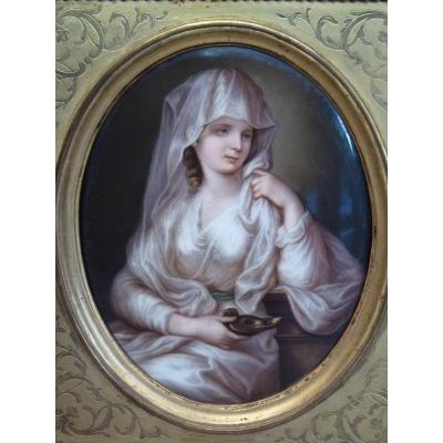 Vestal In The Antique, Porcelain Table After Angelica Kauffman, Napoleon III Period