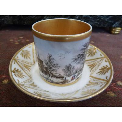 Litron Cup, Veuve Desarnaud Porcelain In Paris, Snow Landscape, Empire Period