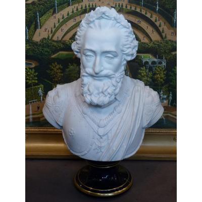 Sevres, Bust Of King Henri Iv, Porcelain Biscuit, Restoration Period