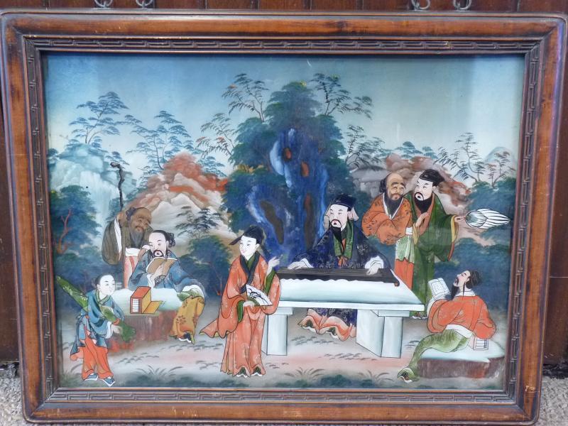 Assemblée de Lettrés, Peinture Fixé Sous Verre, Chine 19e Siècle-photo-2