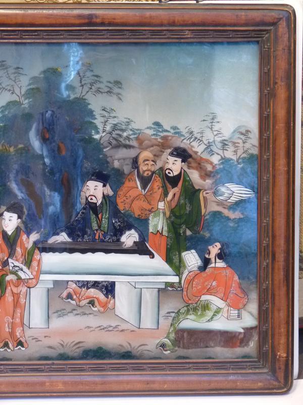 Assemblée de Lettrés, Peinture Fixé Sous Verre, Chine 19e Siècle-photo-4