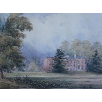 Château Anglais dans un Parc, Aquarelle, Epoque Victorienne