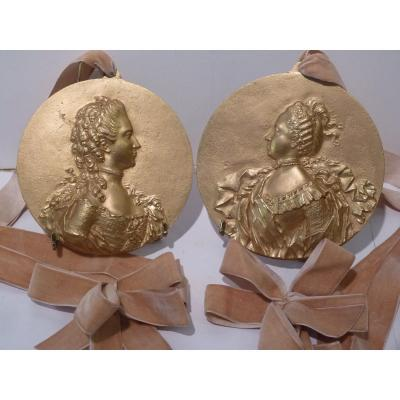 After Jean Baptiste Nini, Pair Of Medallions, Gilt Bronze, 19th Century