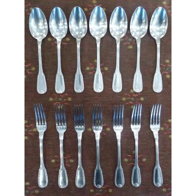 7 Dessert Cutlery, Louis XVI Style, Silver Metal, Goldsmith Charles Boulenger, 19th Century