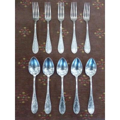 5 Louis XVI Style Cutlery, Silver Metal, Apollo Goldsmith, Circa 1930