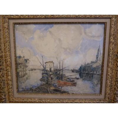 Frank Myers Boggs (1855-1926) Les Martigues, Aquarelle, 1921