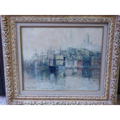 Frank Myers Boggs (1855-1926) Marseille Le Vieux Port, Aquarelle, 1921
