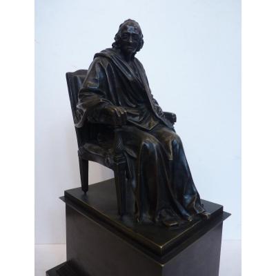 Jean Antoine Houdon (1741-1828) Voltaire Assis, Bronze Epoque Restauration