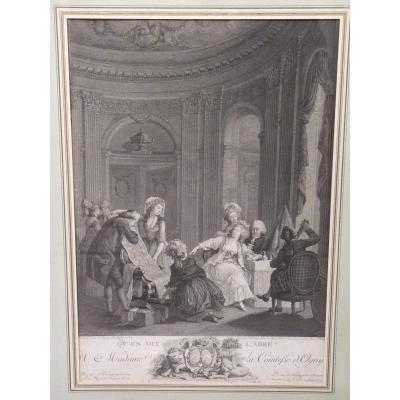 Nicolas Lavreince (1737-1807) Qu'en Dit l'Abbé, Gravure époque Louis XVI