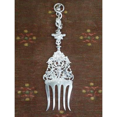 Rare Fork, Sterling Silver, Renaissance Style, Holland 19th Century