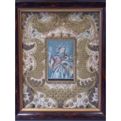 Saint Jean Népomucène, Gouache And Embroidery, 18th Century