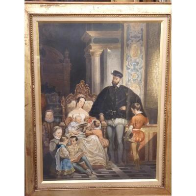 Henri II And His Family, Romantic Gouache, Alexandre De Valentini, Circa 1835