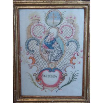 Vierge à l'Enfant, Gouache sur Vélin, 18ème Siècle