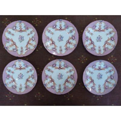 Service Of 6 Cake Plates, Sarreguemines, 19th Century