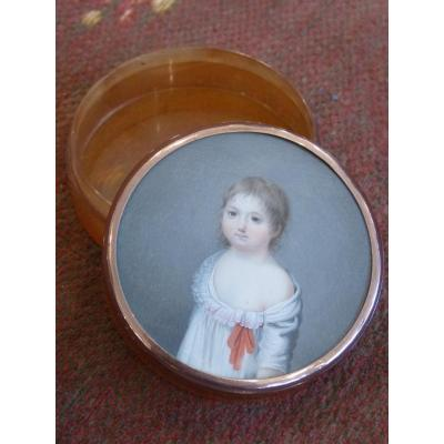 Tortoiseshell Box With Miniature Little Girl With A Red Bow, Late 18th Century