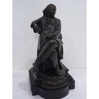 Albert Ernest Carrier Belleuse, Le Poète Béranger, Bronze, époque Napoléon III
