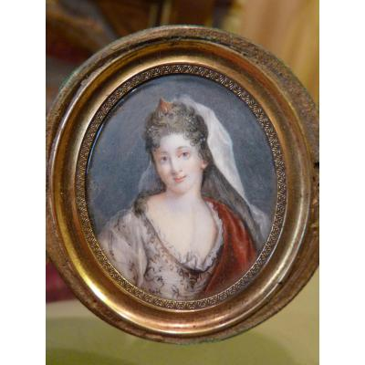 Miniature On Ivory Portrait Of Actress In A Drama, 18th Century