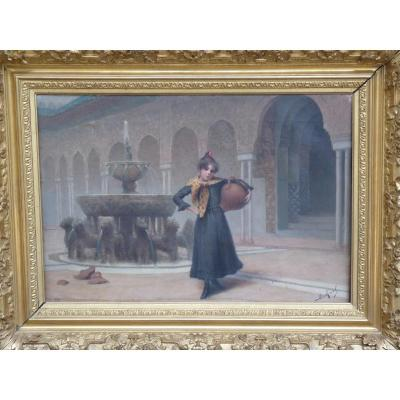 Henri Rovel (1849-1926) Fillette à l'Alhambra de Grenade, 1891