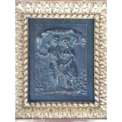 Paul & Virginie, Bas-relief en Bronze Patiné, 19ème Siècle