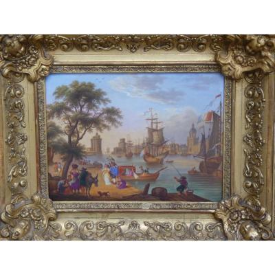 Le Port de La Rochelle, Tableau Porcelaine d'après Claude Joseph Vernet, Epoque Restauration