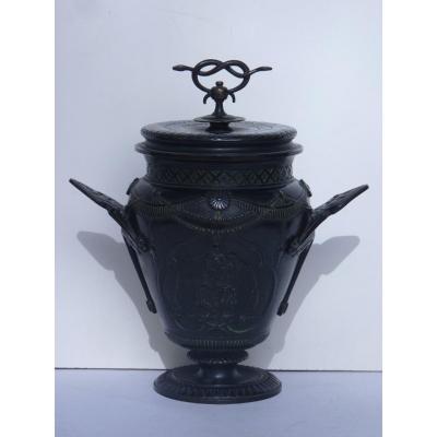 Vase Couvert Néo-antique, Bronze Patiné, 19ème Siècle