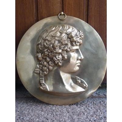Antinous, Médaillon d'après l'Antique, Signé Ferdinand Barbedienne, 19e Siècle