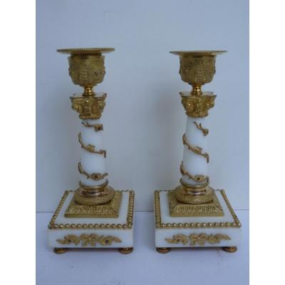 Toilet Candlesticks, Corinthian Column, Napoleon III Period, Carrara Marble And Gilt Bronze