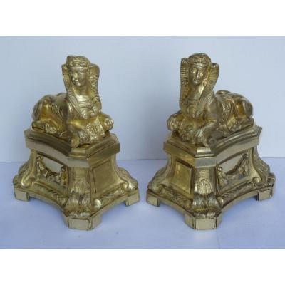 Paire de Sphinges, Bronze Doré, Epoque Louis XVI