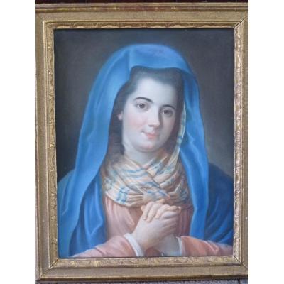 Jeune Femme Aux Mains Jointes, Pastel 18ème Siècle