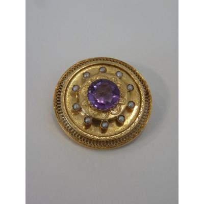 Broche Or 18 Carats, Améthyste et Perles Fines, Epoque Napoléon III