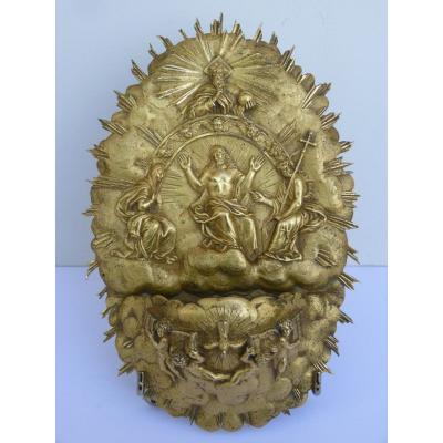 Bénitier La Trinité, Bronze Doré, Début 19e Siècle