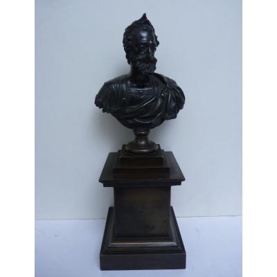 Buste du Roi Henri IV en Empereur Romain, Epoque Restauration, Bronze Patiné