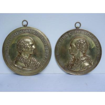 Voltaire & Rousseau, Paire de Médaillons, Bronze Doré, Fin 18e Siècle Début 19e Siècle