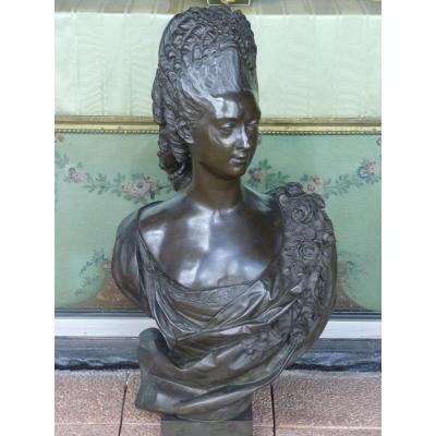 Félix Lecomte, Buste d'une Noble Dame, Important Bronze, 19ème Siècle