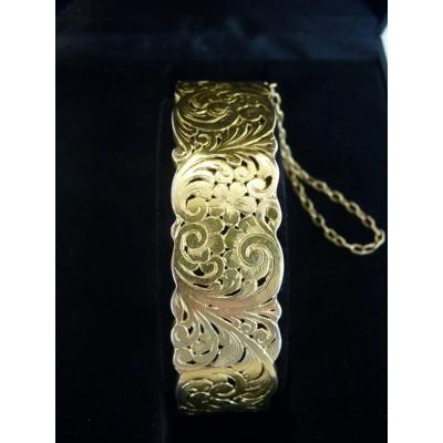 Rigid 18k Yellow Gold Bracelet, Openwork Decor, Late 19th Century