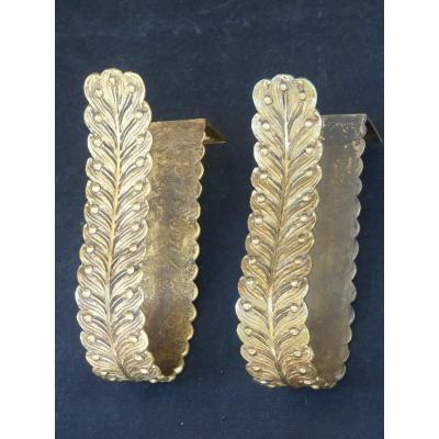 Paire d'Embrasses de Rideaux, Style Empire, Bronze Doré Fin 19e Siècle