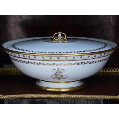Sèvres, Jatte Couverte en Porcelaine, Epoque Louis-Philippe