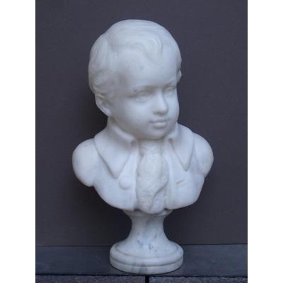 Buste de Petit Garçon, Marbre Blanc de Carrare, Epoque Napoléon III