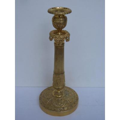 Bougeoir pour Lampe, Epoque Charles X Restauration, Bronze Doré