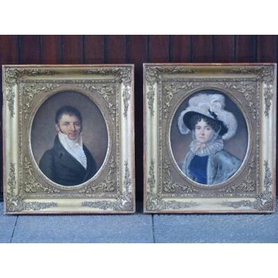 Paire de Portraits, Dessins, Epoque Restauration
