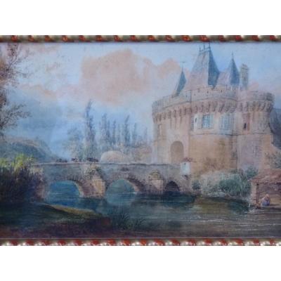 François Edme Ricois (1795-1881) Entrée de Château, Aquarelle, 1830