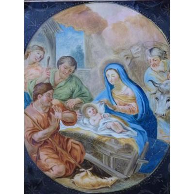 La Nativité, Peinture Fixé Sous Verre, Fin 18e Siècle