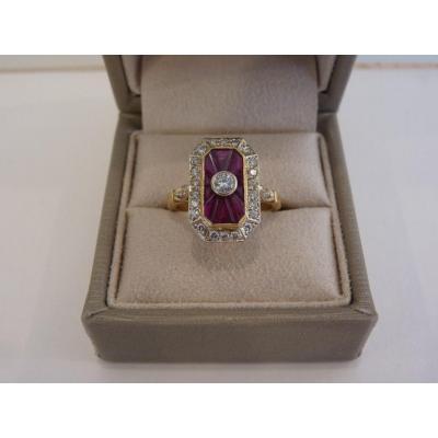 Bague Or Jaune 18 Carats, Rubis et Diamants, Style Art Déco